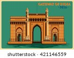 vintage poster of gateway of... | Shutterstock .eps vector #421146559