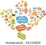 winter holidays   cute signs.... | Shutterstock .eps vector #42114820