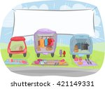 illustration of  cars loaded... | Shutterstock .eps vector #421149331
