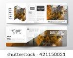 vector set of tri fold... | Shutterstock .eps vector #421150021