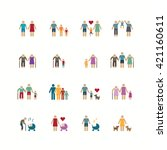 family silhouette icons flat... | Shutterstock .eps vector #421160611
