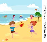 children summertime vacation... | Shutterstock .eps vector #421165261