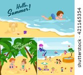 children summertime vacation... | Shutterstock .eps vector #421165354