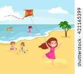 children summertime vacation... | Shutterstock .eps vector #421165399