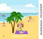 children summertime vacation... | Shutterstock .eps vector #421165429
