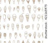 tasty ice creams seamless... | Shutterstock .eps vector #421165975