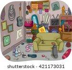 illustration of a room full of... | Shutterstock .eps vector #421173031