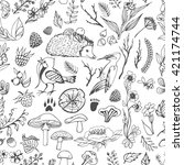 vector forest elements. doodle... | Shutterstock .eps vector #421174744