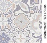 geometric ceramic tiled wall | Shutterstock . vector #421178005