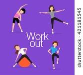 aerobics. train create a... | Shutterstock .eps vector #421181545