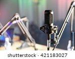 radio microphone in the studio | Shutterstock . vector #421183027