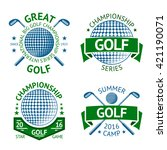 vector set of golf badges  logo ... | Shutterstock .eps vector #421190071
