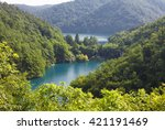 scenery of high mountain with... | Shutterstock . vector #421191469