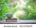 notebook with pencil and green... | Shutterstock . vector #421193695