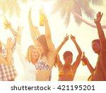 summer beach party freedom... | Shutterstock . vector #421195201