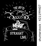 hand drawn quote the way to... | Shutterstock .eps vector #421199407
