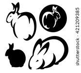 cute rabbits design set   black ... | Shutterstock .eps vector #421209385