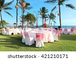 decorated wedding table | Shutterstock . vector #421210171