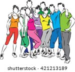 fitness group people ... | Shutterstock .eps vector #421213189