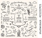 sea vacation design elements. | Shutterstock .eps vector #421222921