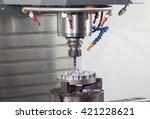 cnc milling machine working ... | Shutterstock . vector #421228621