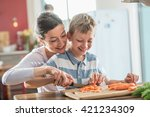 mother and son preparing lunch... | Shutterstock . vector #421234309