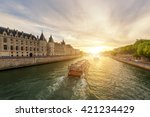 boat tour on seine river in... | Shutterstock . vector #421234429