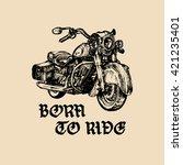 vector motorcycle sketch with... | Shutterstock .eps vector #421235401