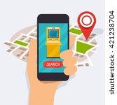 hand holding mobile smart phone ... | Shutterstock .eps vector #421238704