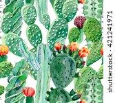 watercolor cactus seamless...   Shutterstock . vector #421241971