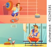 gym horizontal banners set with ... | Shutterstock .eps vector #421245181