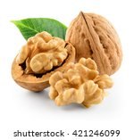 Walnuts With Leaf Isolated On...