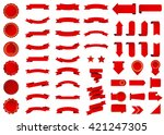 Ribbon vector icon set red color on white background. Banner isolated shapes illustration of gift and accessory. Christmas sticker and decoration for app and web. Label, badge and borders collection. | Shutterstock vector #421247305