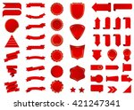banner vector icon set red... | Shutterstock .eps vector #421247341