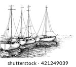 boats on sea artistic drawing | Shutterstock .eps vector #421249039