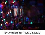 two shampagne glasses on... | Shutterstock . vector #421252339