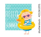 funny vector summer card with...   Shutterstock .eps vector #421261351