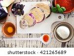 eggplant parmigiana ingredient... | Shutterstock . vector #421265689