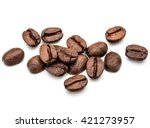 roasted coffee beans isolated... | Shutterstock . vector #421273957