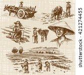 asian farmers working on field. ... | Shutterstock .eps vector #421274455