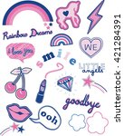 baby style stickers and... | Shutterstock .eps vector #421284391