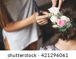 hair stylist makes the bride a... | Shutterstock . vector #421296061