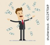 happy  manager or business man... | Shutterstock .eps vector #421297069