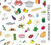 seamless pattern with food... | Shutterstock .eps vector #421297501