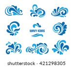 vector wave icons  set of... | Shutterstock .eps vector #421298305