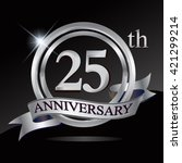 25th anniversary logo with... | Shutterstock .eps vector #421299214