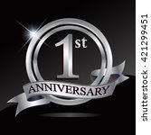 1st anniversary logo with... | Shutterstock .eps vector #421299451