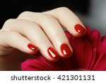 beauty delicate hands with... | Shutterstock . vector #421301131