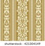 Royal Renaissance Striped Wallpaper Vector Background For Textile Design