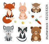 Stock vector set of cute woodland animals isolated on white background 421315324